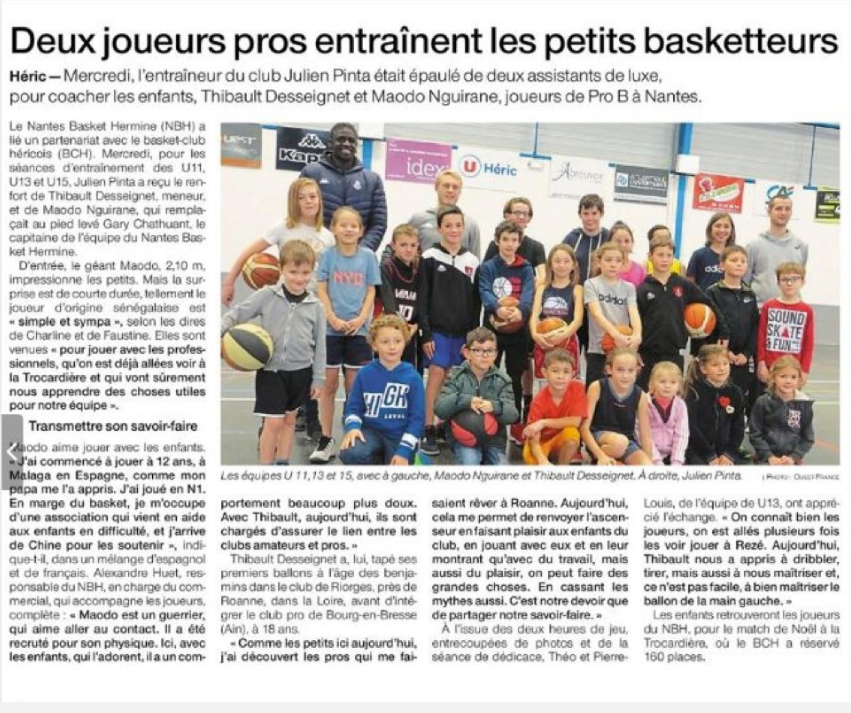 Article Ouest France 15/11/2019