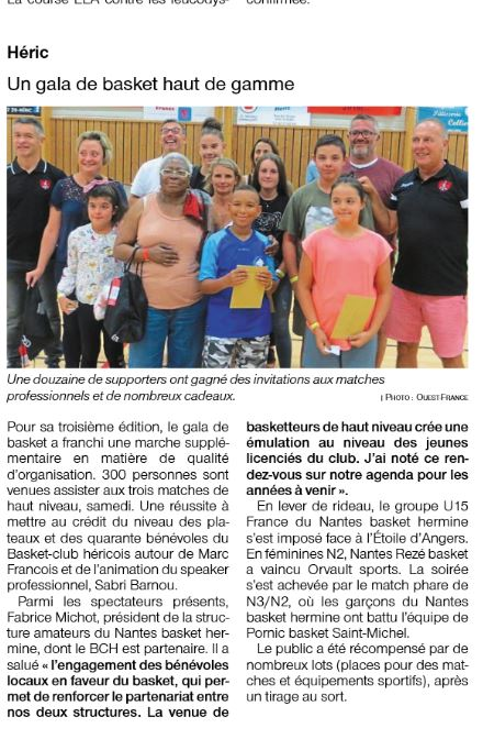 Article Ouest France 02/09/2019