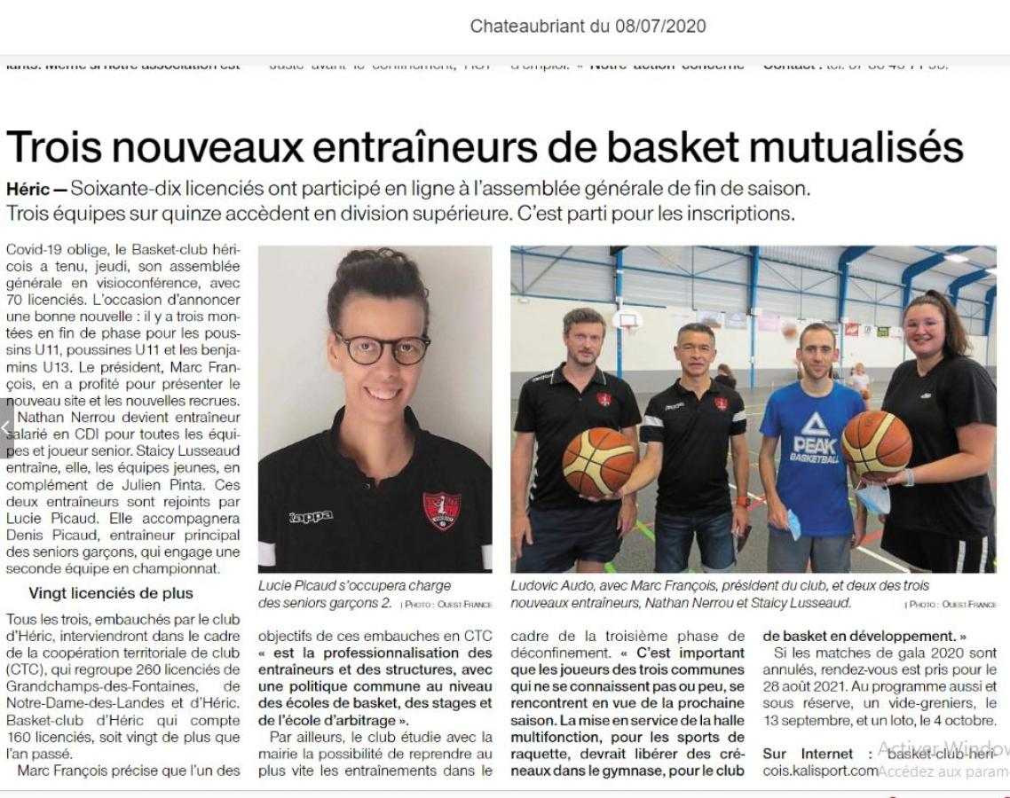 Article Ouest France 08/07/2020